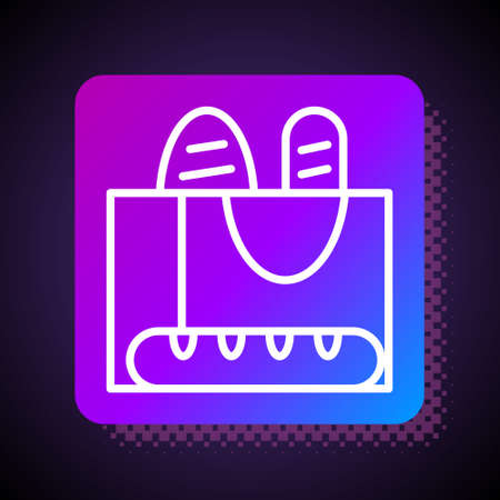 White line French baguette bread icon isolated on black background. Square color button. Vector