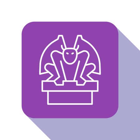 White line Gargoyle on pedestal icon isolated on white background. Purple square button. Vector Ilustrace