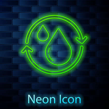 Glowing neon line Recycle clean aqua icon isolated on brick wall background. Drop of water with sign recycling. Vector
