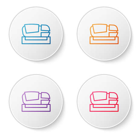 Color line Stadium Mestalla icon isolated on white background. Football stadium in Valencia, Spain. Set icons in circle buttons. Vector