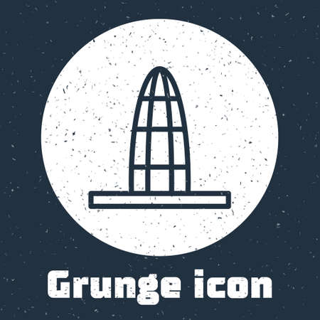 Grunge line Agbar tower icon isolated on grey background. Barcelona, Spain. Monochrome vintage drawing. Vector Ilustrace