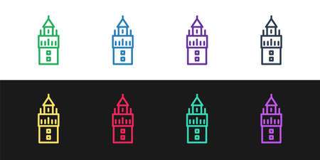 Set line Giralda in Seville Spain icon isolated on black and white background. Vector Çizim