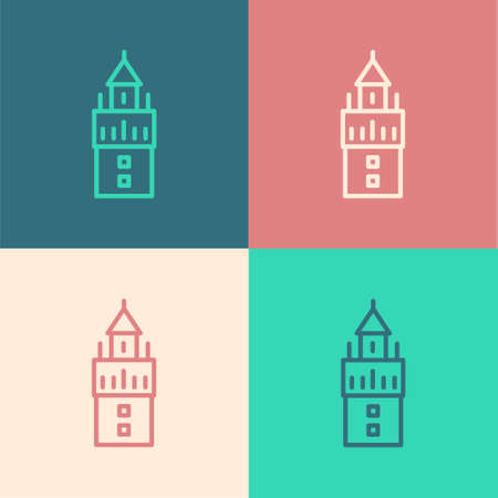 Pop art line Giralda in Seville Spain icon isolated on color background. Vector