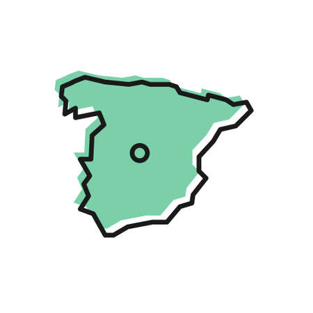 Black line Map of Spain icon isolated on white background. Vector