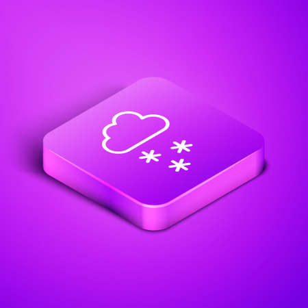 Isometric line Cloud with snow icon isolated on purple background. Cloud with snowflakes. Single weather icon. Snowing sign. Purple square button. Vector