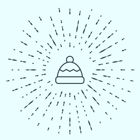 Black line Beanie hat icon isolated on grey background. Abstract circle random dots. Vector