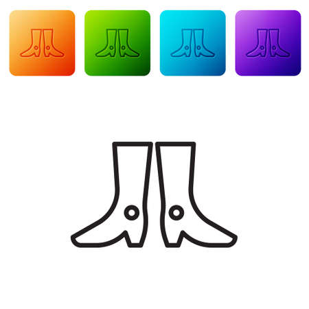 Black line Ukrainian national footwear icon isolated on white background. Traditional ethnic boots. Set icons in color square buttons. Vector