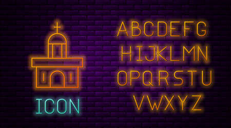 Glowing neon line Church building icon isolated on brick wall background. Christian Church. Religion of church. Neon light alphabet. Vector