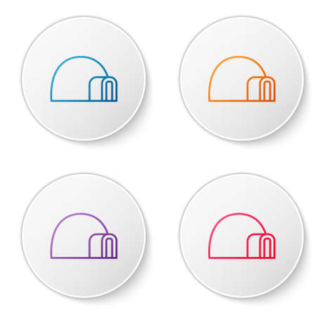 Color line Igloo ice house icon isolated on white background. Snow home, Eskimo dome-shaped hut winter shelter, made of blocks. Set icons in circle buttons. Vector Illusztráció