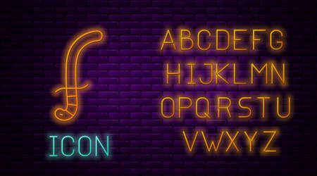 Glowing neon line Medieval sword icon isolated on brick wall background. Medieval weapon. Neon light alphabet. Vector Vettoriali