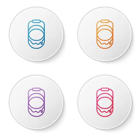 Color line Paint bucket icon isolated on white background. Set icons in circle buttons. Vector Ilustracja