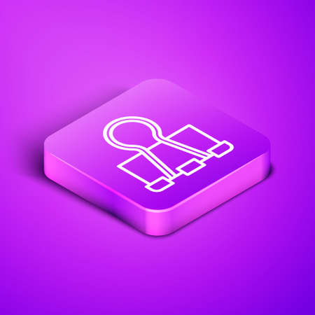 Isometric line Binder clip icon isolated on purple background. Paper clip. Purple square button. Vector