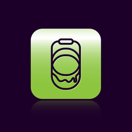 Black line Paint bucket icon isolated on black background. Green square button. Vector