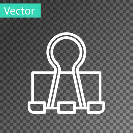 White line Binder clip icon isolated on transparent background. Paper clip. Vector