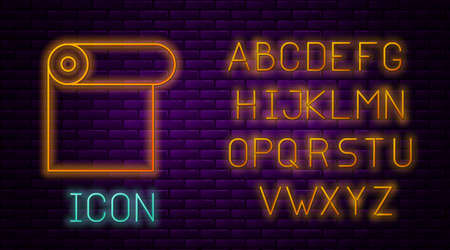 Glowing neon line Roll of paper icon isolated on brick wall background. Neon light alphabet. Vector