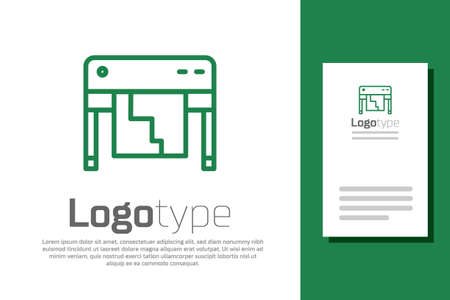 Green line Plotter icon isolated on white background. Large format multifunction printer. Polygraphy, printshop service. Logo design template element. Vector