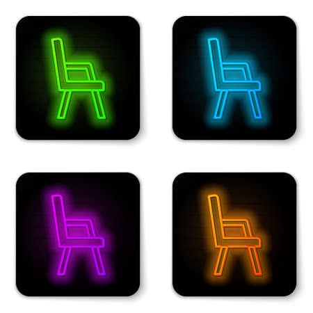 Glowing neon line Armchair icon isolated on white background. Black square button. Vector