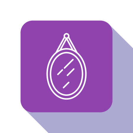White line Mirror icon isolated on white background. Purple square button. Vector Ilustrace