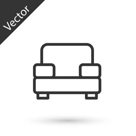 Grey line Armchair icon isolated on white background. Vector Ilustrace