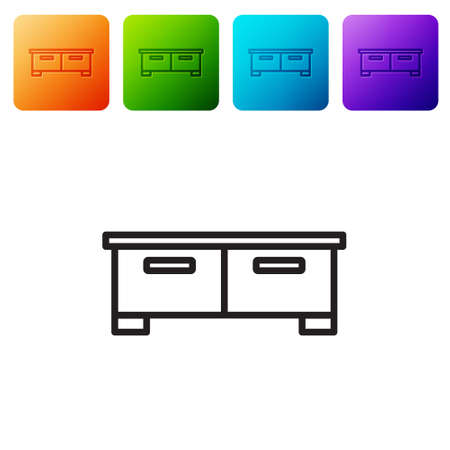 Black line Chest of drawers icon isolated on white background. Set icons in color square buttons. Vector