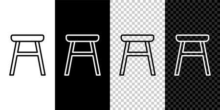Set line Chair icon isolated on black and white background. Vector