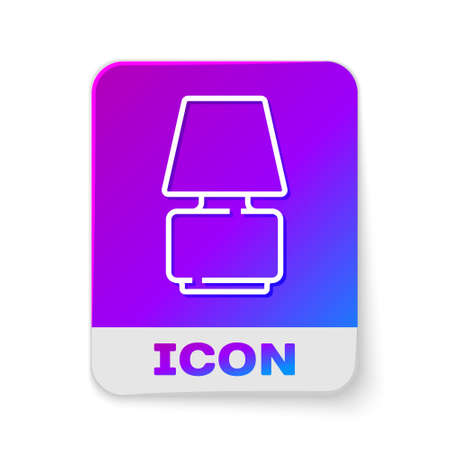 White line Table lamp icon isolated on white background. Rectangle color button. Vector