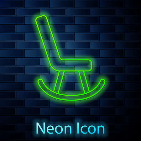 Glowing neon line Armchair icon isolated on brick wall background. Vector