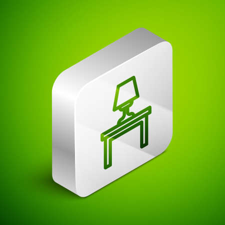 Isometric line Table lamp on table icon isolated on green background. Silver square button. Vector