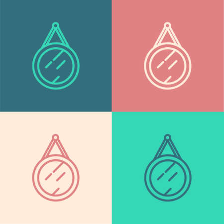 Pop art line Mirror icon isolated on color background. Vector Ilustrace