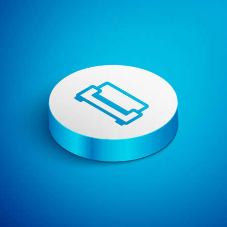 Isometric line Sofa icon isolated on blue background. White circle button. Vector Ilustrace
