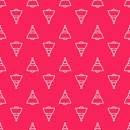 White line Chandelier icon isolated seamless pattern on red background. Vector