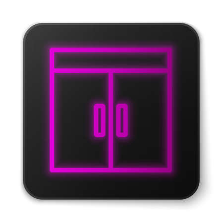 Glowing neon line Wardrobe icon isolated on white background. Black square button. Vector