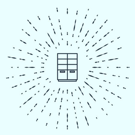 Black line Wardrobe icon isolated on grey background. Abstract circle random dots. Vector