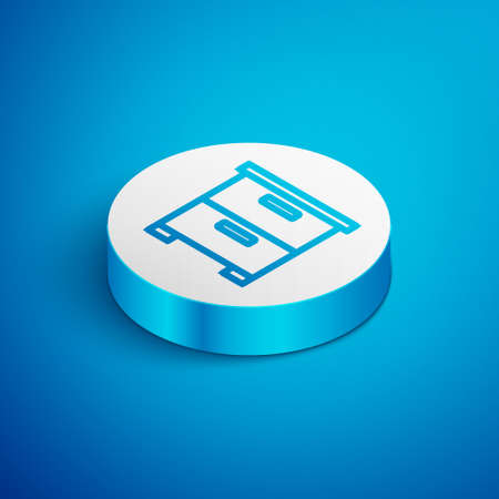 Isometric line Furniture nightstand icon isolated on blue background. White circle button. Vector Ilustrace