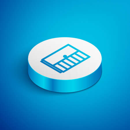Isometric line Wardrobe icon isolated on blue background. White circle button. Vector Ilustrace