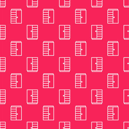 White line Wardrobe icon isolated seamless pattern on red background. Vector