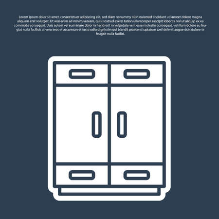 Blue line Wardrobe icon isolated on blue background. Vector Ilustrace