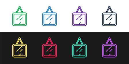 Set line Mirror icon isolated on black and white background. Vector Ilustracja