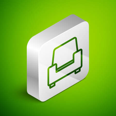Isometric line Armchair icon isolated on green background. Silver square button. Vector Ilustrace