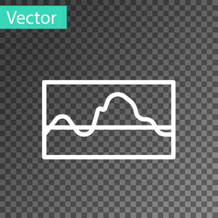 White line Music wave equalizer icon isolated on transparent background. Sound wave. Audio digital equalizer technology, console panel, pulse musical. Vector