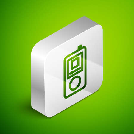 Isometric line Music player icon isolated on green background. Portable music device. Silver square button. Vector