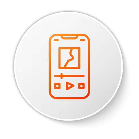 Orange line Music player icon isolated on white background. Portable music device. White circle button. Vector Ilustração