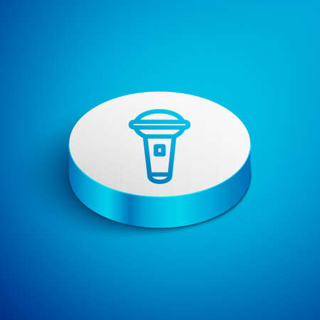Isometric line Microphone icon isolated on blue background. On air radio mic microphone. Speaker sign. White circle button. Vector