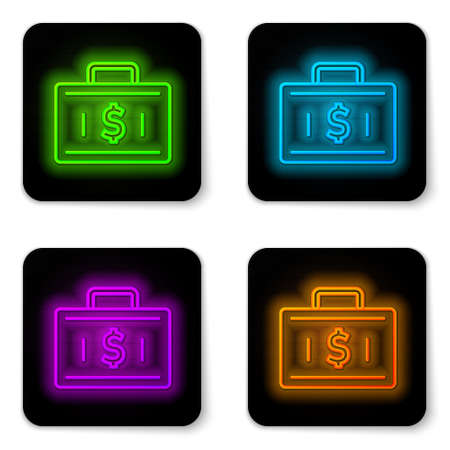 Glowing neon line Briefcase and money icon isolated on white background. Business case sign. Business portfolio. Financial management. Black square button. Vector