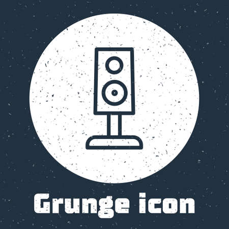 Grunge line Stereo speaker icon isolated on grey background. Sound system speakers. Music icon. Musical column speaker bass equipment. Monochrome vintage drawing. Vector