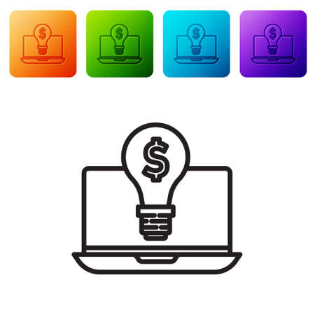 Black line Business light bulb with dollar on laptop screen icon isolated on white background. User touch screen. Set icons in color square buttons. Vector