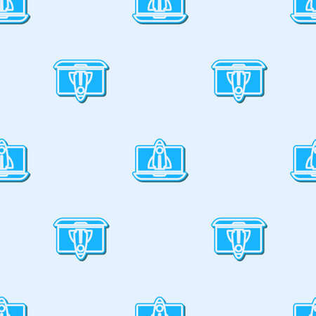 Blue line Business startup project concept icon isolated seamless pattern on grey background. Symbol of new business, entrepreneurship, innovation and technology. Vector
