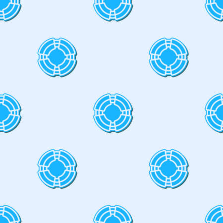 Blue line Business lifebuoy icon isolated seamless pattern on grey background. Rescue, crisis, support, team, partnership, bankruptcy, business concept. Vector