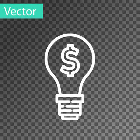White line Light bulb with dollar symbol icon isolated on transparent background. Money making ideas. Fintech innovation concept. Vector