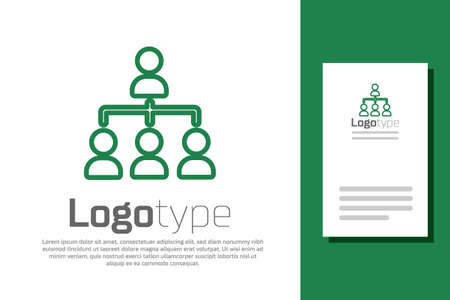 Green line Business hierarchy organogram chart infographics icon isolated on white background. Corporate organizational structure graphic elements. design template element. Vector